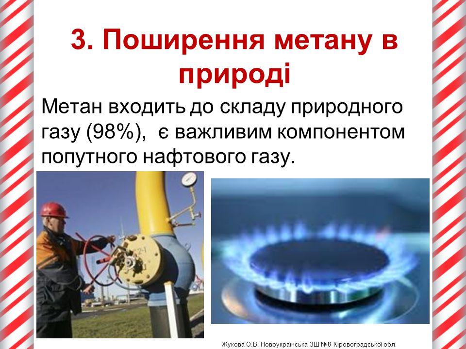 3. Поширення метану в природі Жукова О.В. Новоукраїнська ЗШ №8 Кіровоградської обл. Метан входить до складу природного газу (98%), є важливим компонен