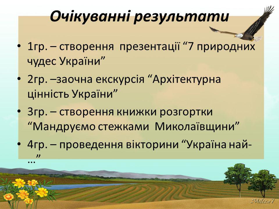 Очікуванні результати 1гр.– створення презентації 7 природних чудес України 2гр.