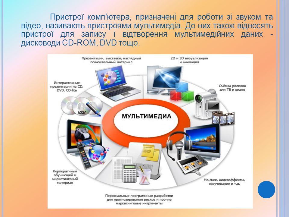 Пристрої комп ютера, призначені для роботи зі звуком та відео, називають пристроями мультимедіа.