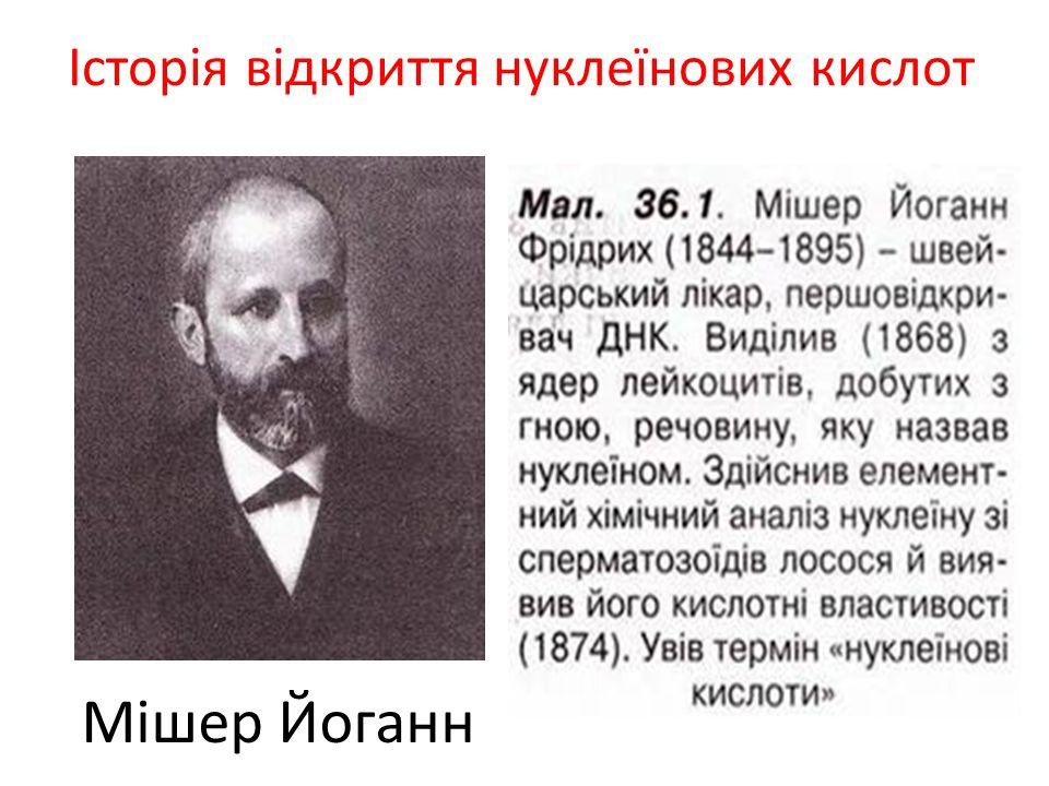 Історія відкриття нуклеїнових кислот Мішер Йоганн