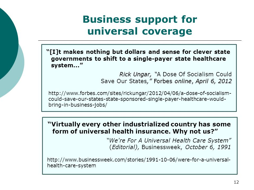 The Business Case for Universal Health Care 1 Washington Health ...