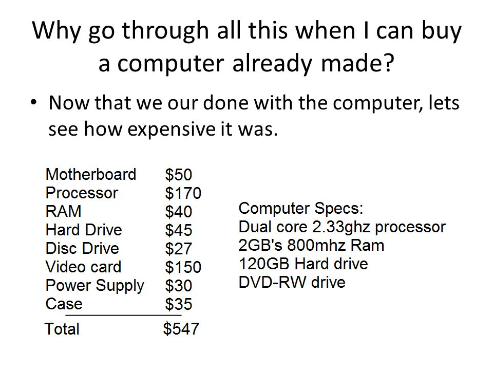 Why go through all this when I can buy a computer already made.
