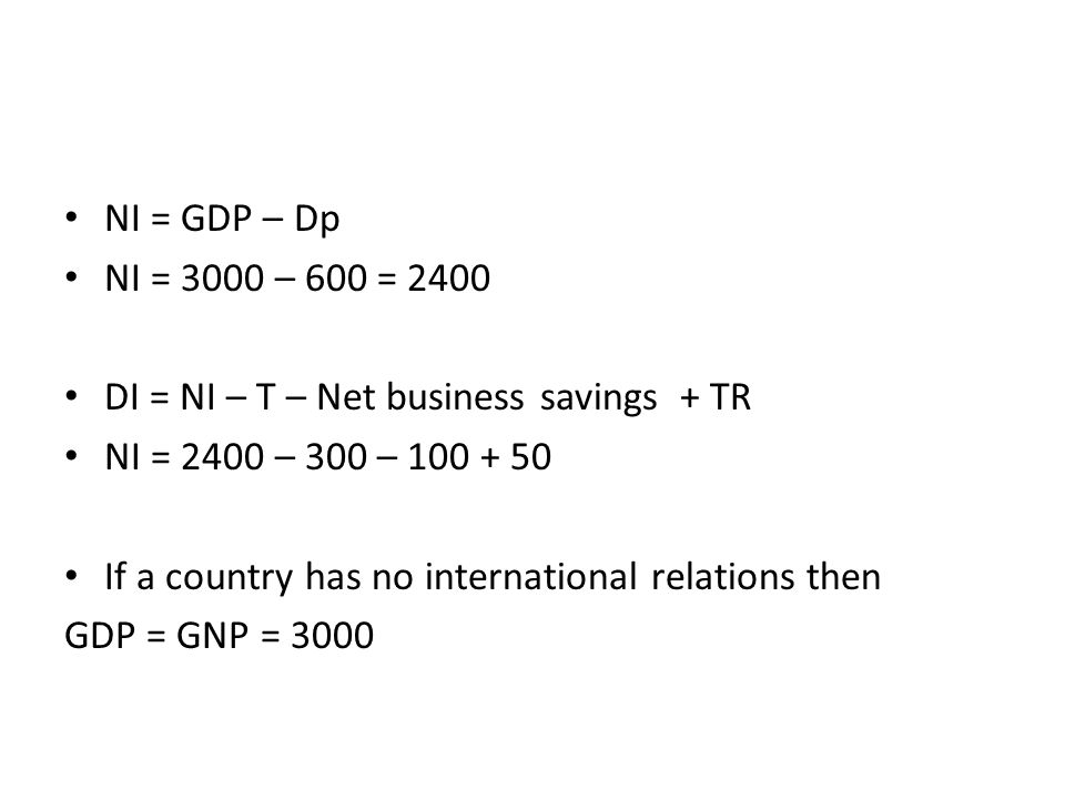 NI = GDP – Dp NI = 3000 – 600 = 2400 DI = NI – T – Net business savings + TR NI = 2400 – 300 – If a country has no international relations then GDP = GNP = 3000