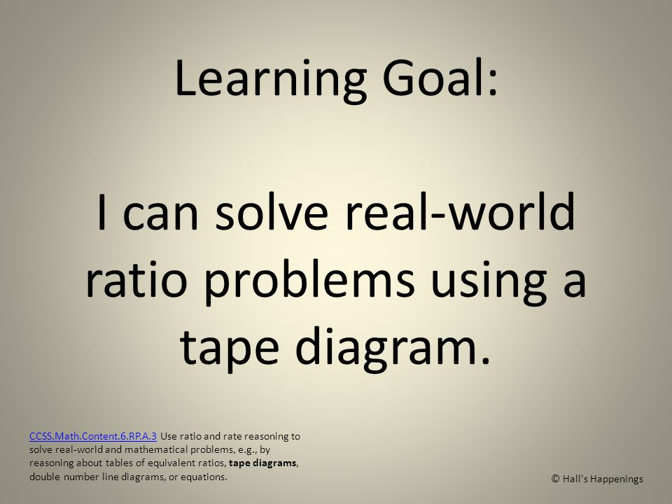 Using tape diagrams to solve ratio problems halls happenings learning goal i can solve real world ratio problems using a tape diagram ccuart Gallery
