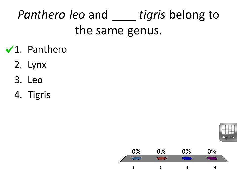 Panthero leo and tigris belong to the same genus. 1.Panthero 2.Lynx 3.Leo 4.Tigris