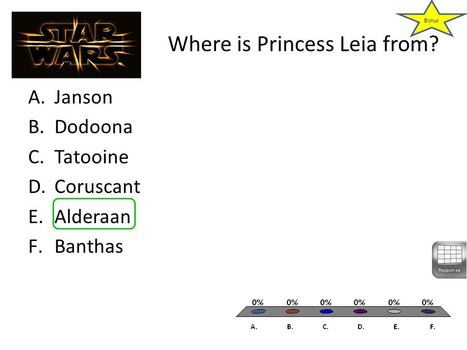 Where is Princess Leia from A.Janson B.Dodoona C.Tatooine D.Coruscant E.Alderaan F.Banthas Bonus