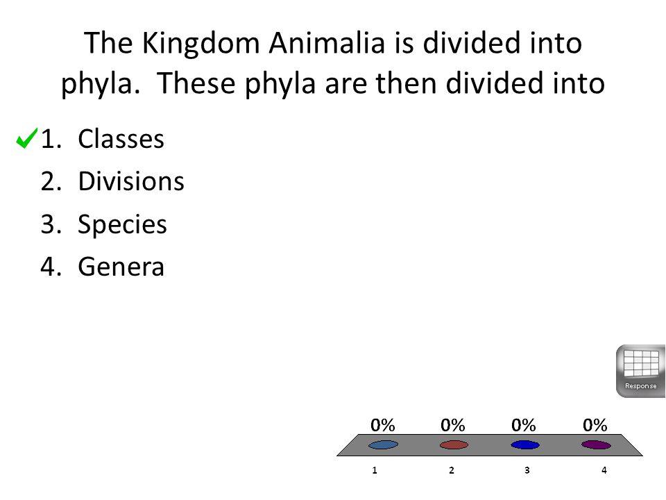The Kingdom Animalia is divided into phyla.