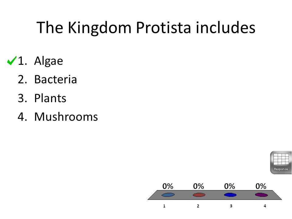 The Kingdom Protista includes 1.Algae 2.Bacteria 3.Plants 4.Mushrooms