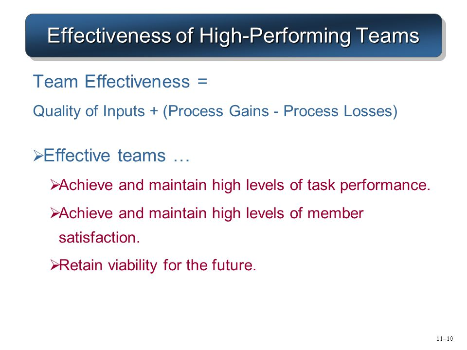 11–10 Effectiveness of High-Performing Teams  Effective teams …  Achieve and maintain high levels of task performance.  Achieve and maintain high l