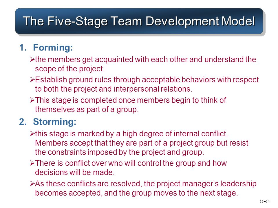 11–14 The Five-Stage Team Development Model 1.Forming:  the members get acquainted with each other and understand the scope of the project.  Establi