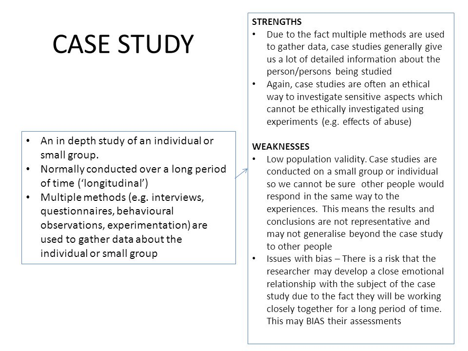 case series study strengths Case study method is responsible for intensive study of a unit it is the investigation and exploration of an event thoroughly and deeply you get a very detailed and in-depth study of a person or event.