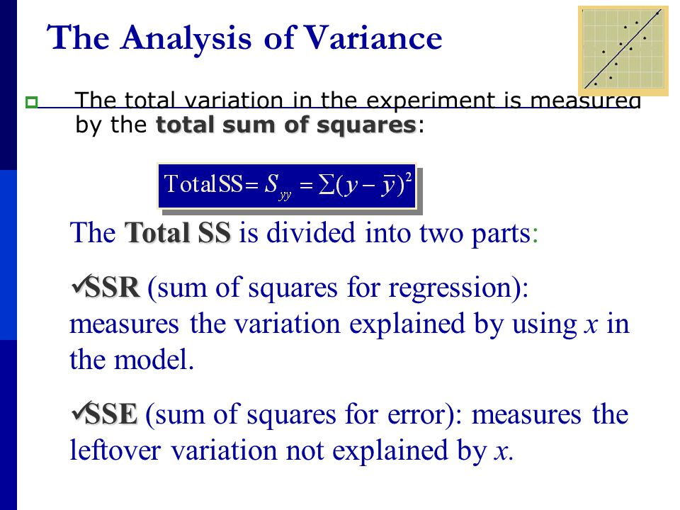 total sum of squares  The total variation in the experiment is measured by the total sum of squares: The Analysis of Variance Total SS The Total SS is divided into two parts: SSR SSR (sum of squares for regression): measures the variation explained by using x in the model.