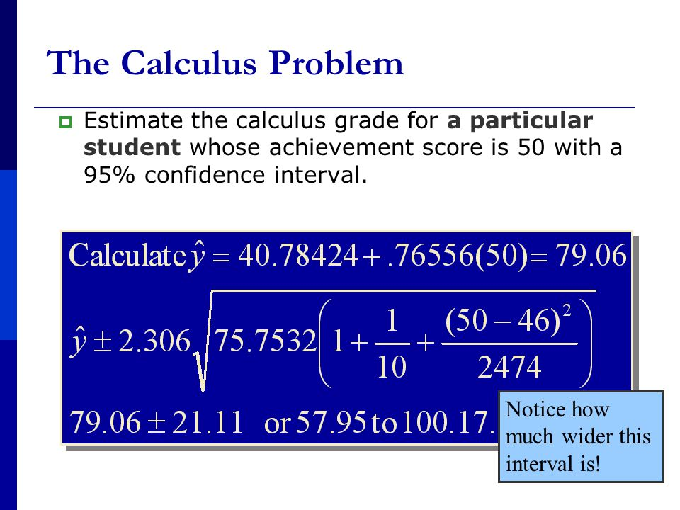 The Calculus Problem  Estimate the calculus grade for a particular student whose achievement score is 50 with a 95% confidence interval.