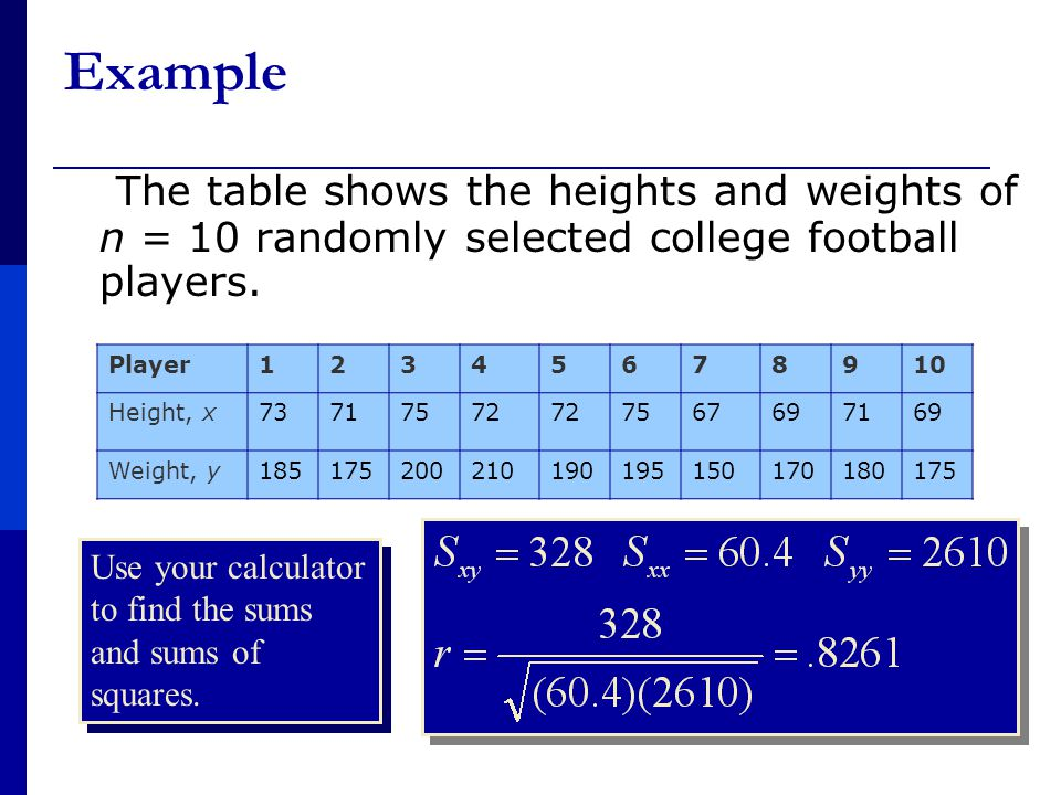 Example The table shows the heights and weights of n = 10 randomly selected college football players.