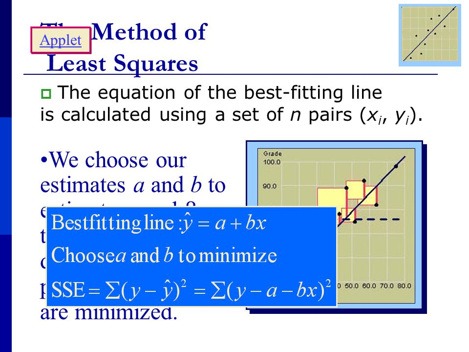 The Method of Least Squares  The equation of the best-fitting line is calculated using a set of n pairs (x i, y i ).