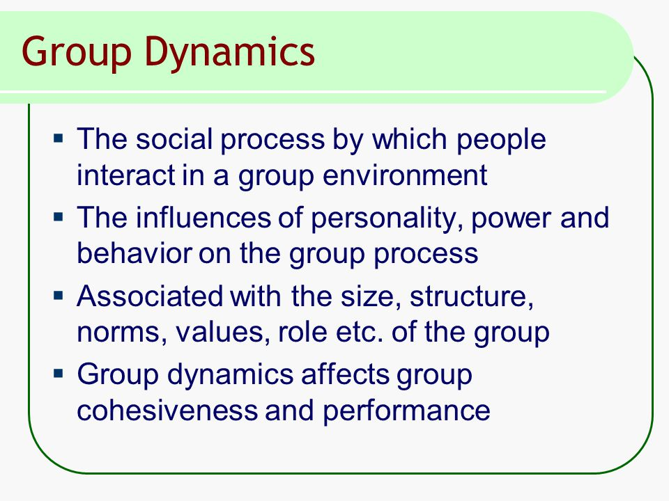 Group Dynamics  The social process by which people interact in a group environment  The influences of personality, power and behavior on the group process  Associated with the size, structure, norms, values, role etc.