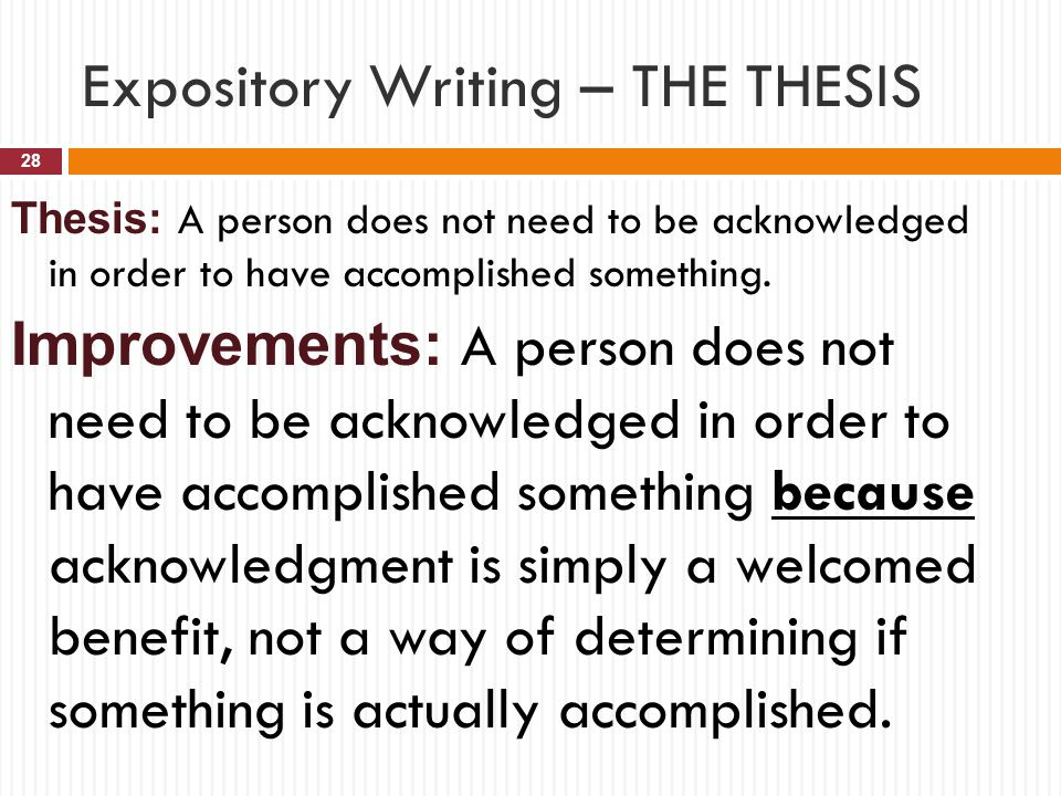 "thesis statement for an expository essay How to write a thesis statement for an expository essay step 1: cup the prompt ‐ c ross out everything, but the ""write an essay"" part."
