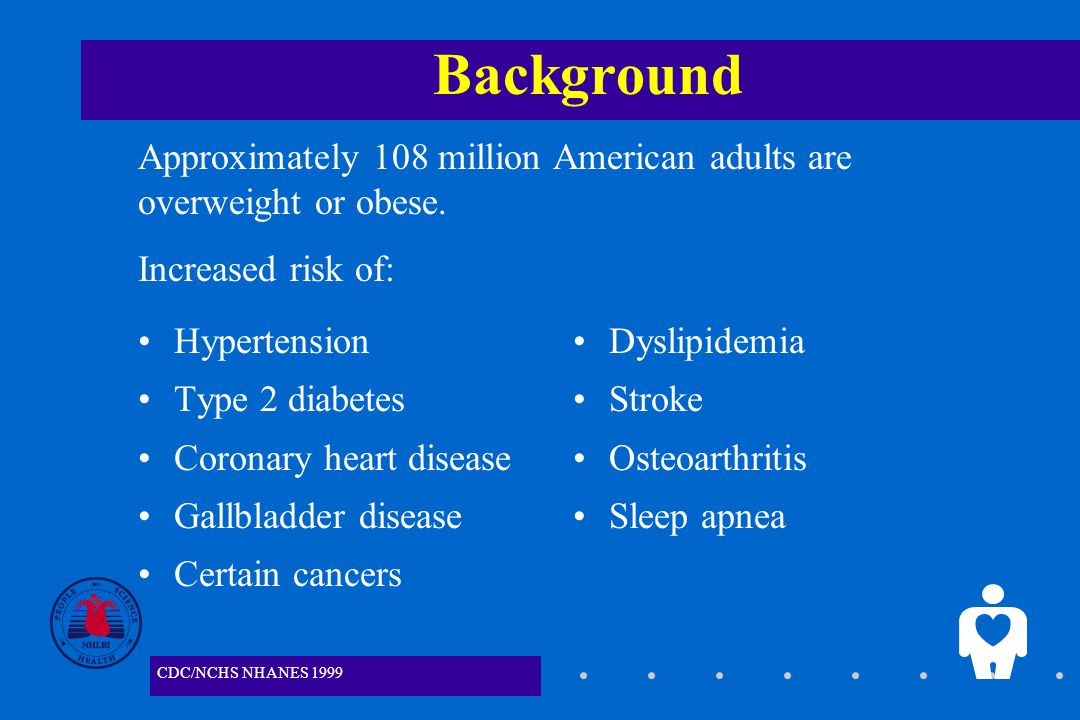 1 Background Hypertension Type 2 diabetes Coronary heart disease Gallbladder disease Certain cancers Dyslipidemia Stroke Osteoarthritis Sleep apnea Approximately 108 million American adults are overweight or obese.
