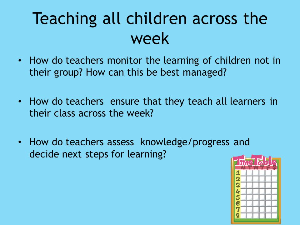 Teaching all children across the week How do teachers monitor the learning of children not in their group.