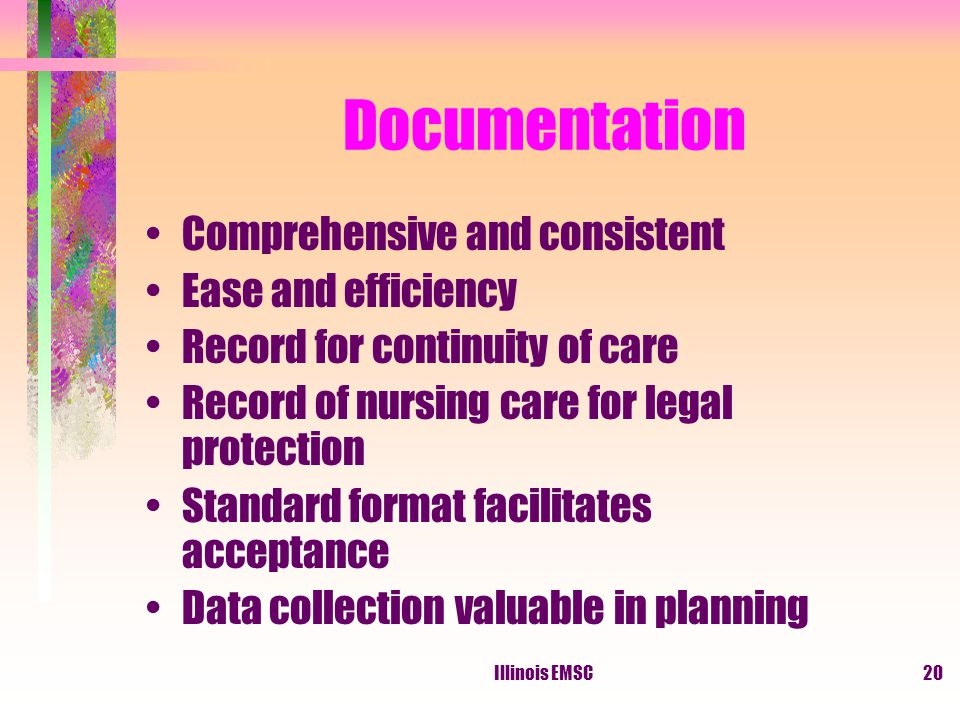 Illinois EMSC20 Documentation Comprehensive and consistent Ease and efficiency Record for continuity of care Record of nursing care for legal protection Standard format facilitates acceptance Data collection valuable in planning