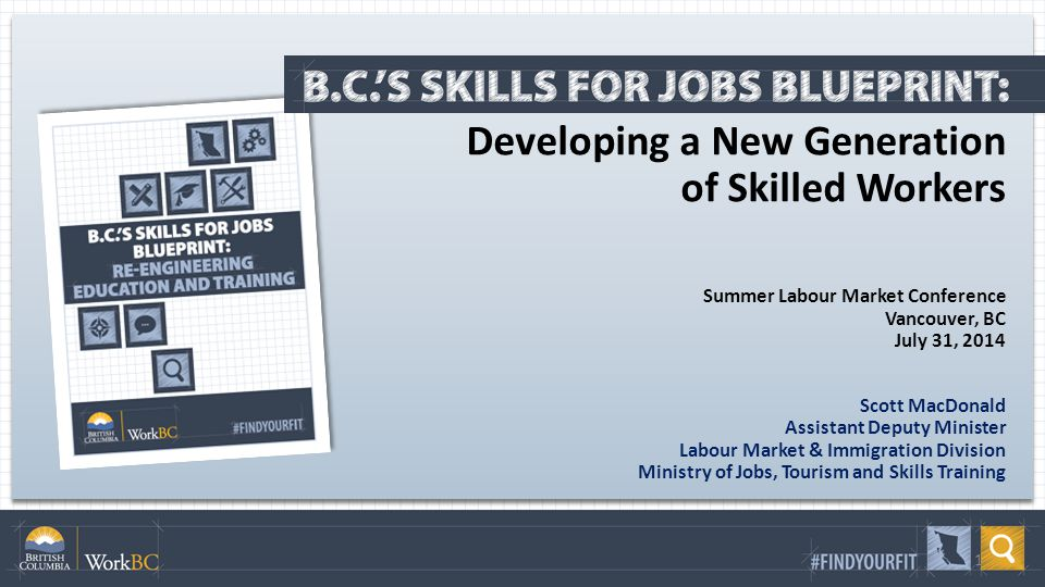 Developing a New Generation of Skilled Workers Summer Labour Market Conference Vancouver, BC July 31, 2014 Scott MacDonald Assistant Deputy Minister Labour Market & Immigration Division Ministry of Jobs, Tourism and Skills Training 1