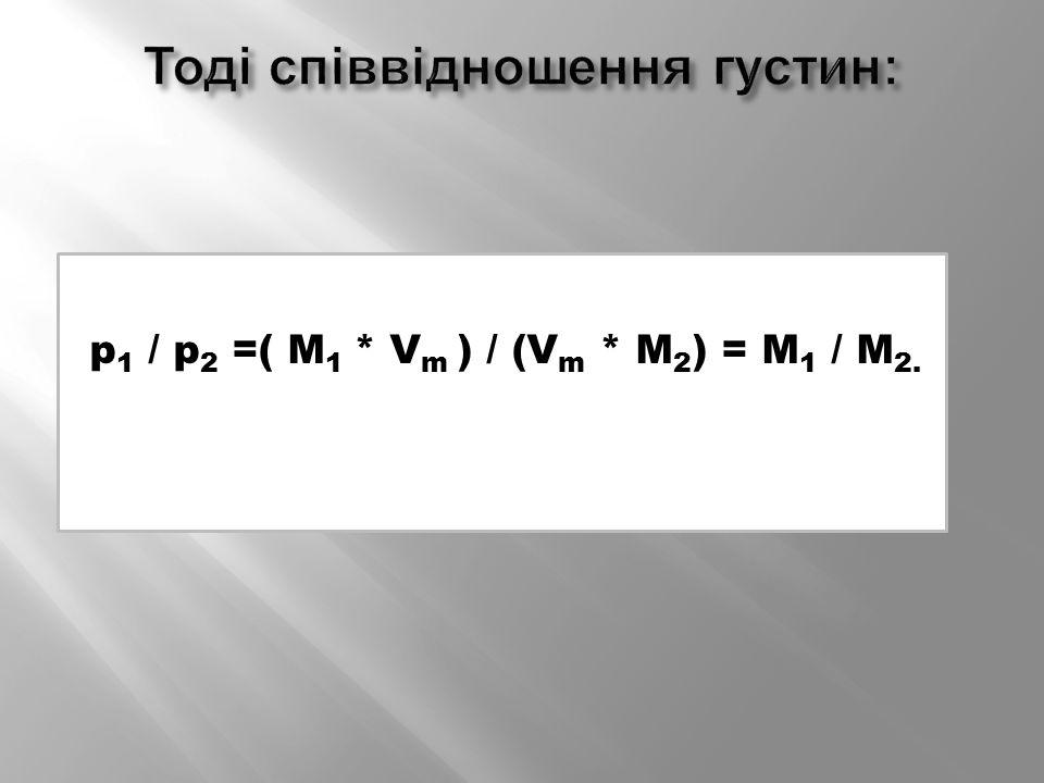 p 1 / p 2 =( M 1 * V m ) / (V m * M 2 ) = M 1 / M 2.