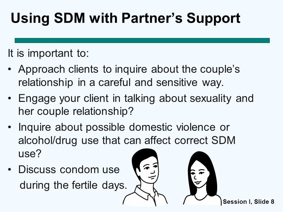 Session I, Slide 88 Using SDM with Partner's Support It is important to: Approach clients to inquire about the couple's relationship in a careful and sensitive way.