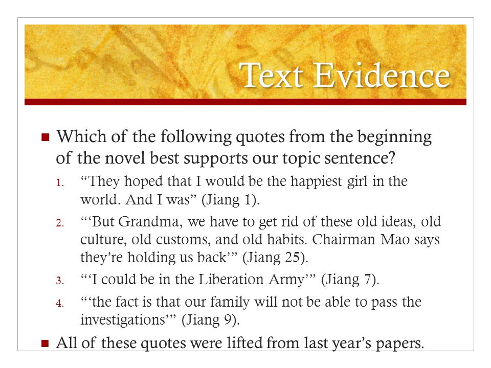 Quote first sentence in essay?