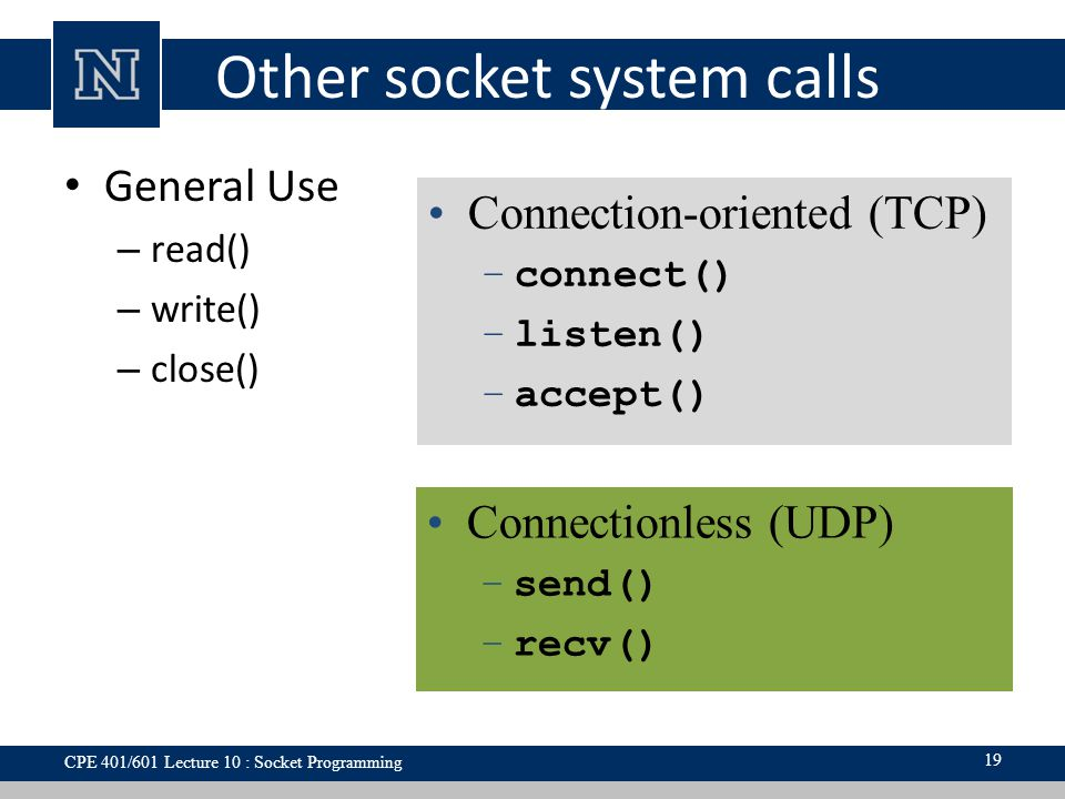 Other socket system calls General Use – read() – write() – close() 19 Connection-oriented (TCP) –connect() –listen() –accept() Connectionless (UDP) –send() –recv() CPE 401/601 Lecture 10 : Socket Programming