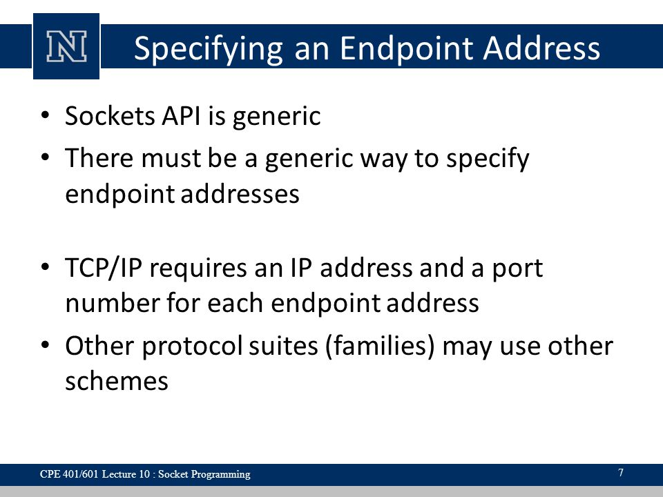 Specifying an Endpoint Address Sockets API is generic There must be a generic way to specify endpoint addresses TCP/IP requires an IP address and a port number for each endpoint address Other protocol suites (families) may use other schemes 7 CPE 401/601 Lecture 10 : Socket Programming
