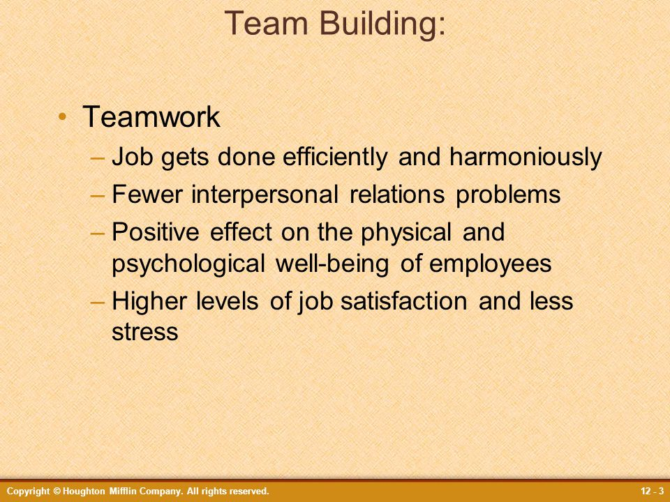 Copyright © Houghton Mifflin Company. All rights reserved.12 - 3 Team Building: Teamwork –Job gets done efficiently and harmoniously –Fewer interperso