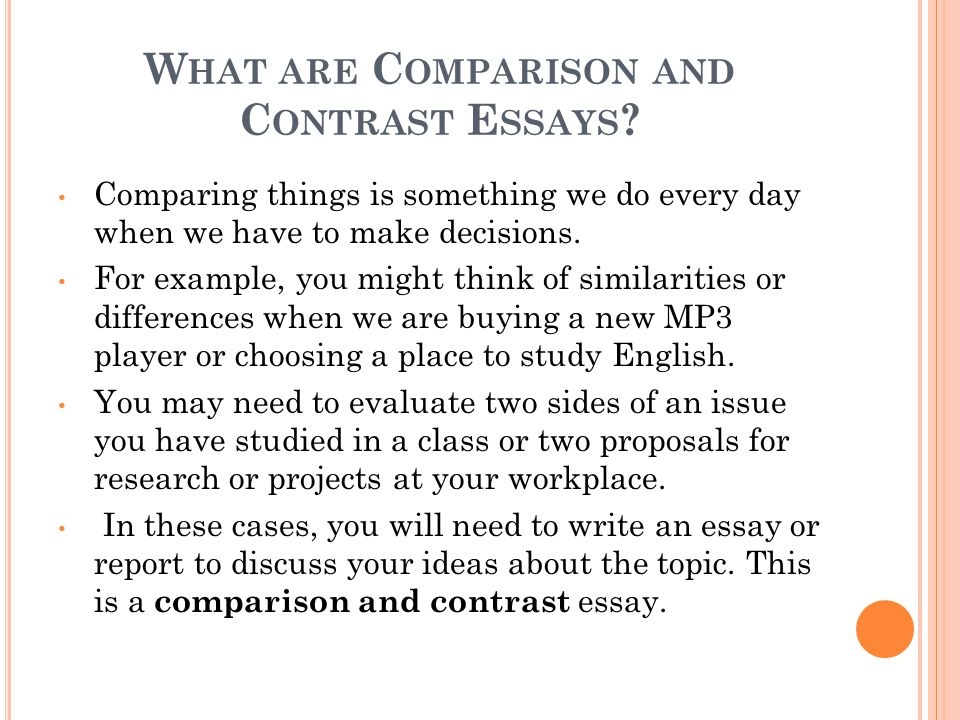 compare and contrast essay examples college