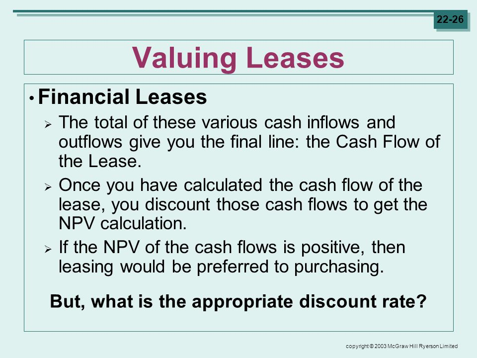 copyright © 2003 McGraw Hill Ryerson Limited Valuing Leases Financial Leases  The total of these various cash inflows and outflows give you the final line: the Cash Flow of the Lease.