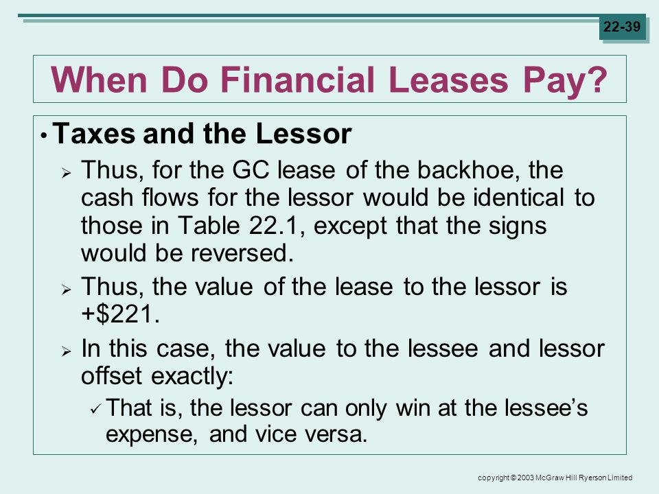 copyright © 2003 McGraw Hill Ryerson Limited When Do Financial Leases Pay.