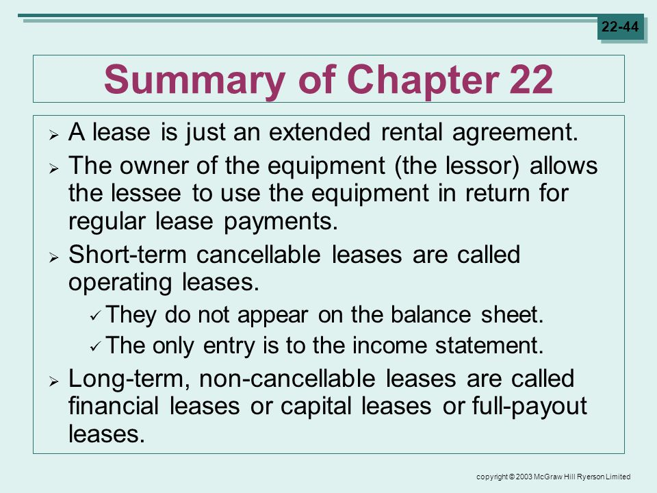 copyright © 2003 McGraw Hill Ryerson Limited Summary of Chapter 22  A lease is just an extended rental agreement.