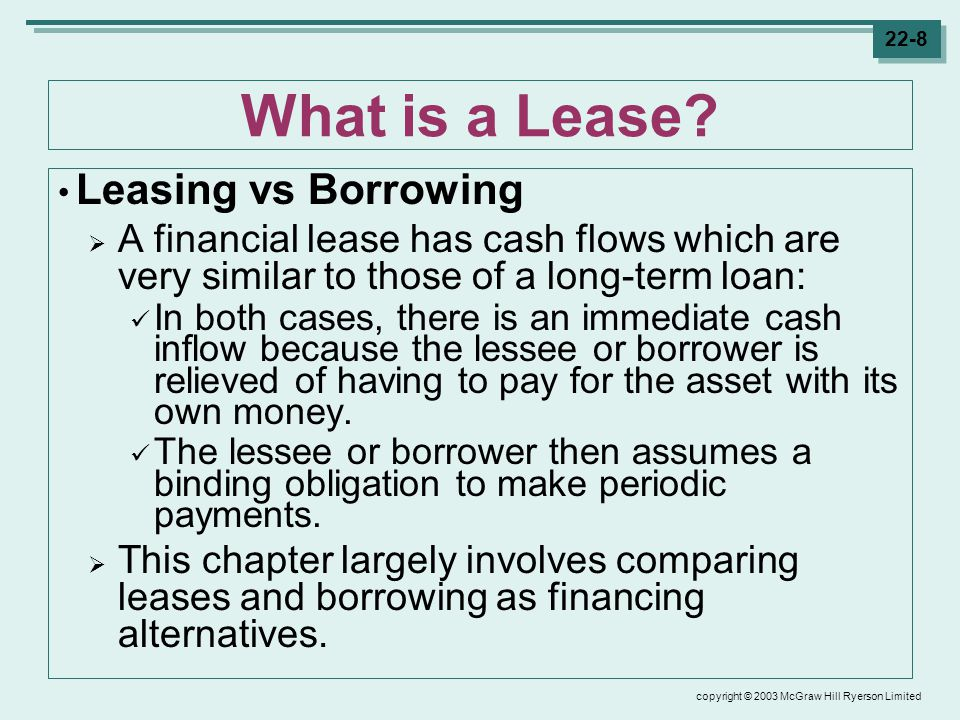 copyright © 2003 McGraw Hill Ryerson Limited 22-8 What is a Lease.