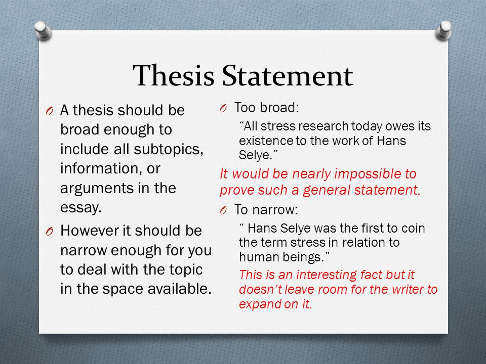 Thesis Statement O A thesis should be broad enough to include all subtopics, information, or arguments in the essay.