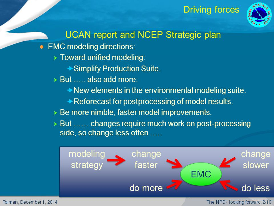 Tolman, December 1, 2014The NPS- looking forward, 2/10 Driving forces  UCAN report and NCEP Strategic plan EMC modeling directions:  Toward unified modeling:  Simplify Production Suite.