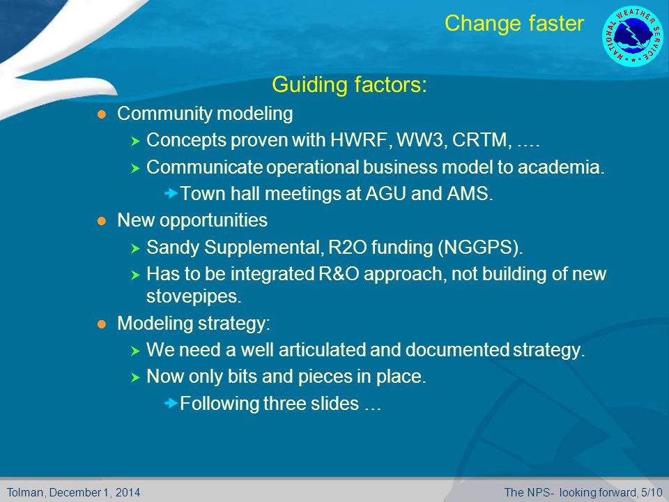 Tolman, December 1, 2014The NPS- looking forward, 5/10 Change faster  Guiding factors: Community modeling  Concepts proven with HWRF, WW3, CRTM, ….