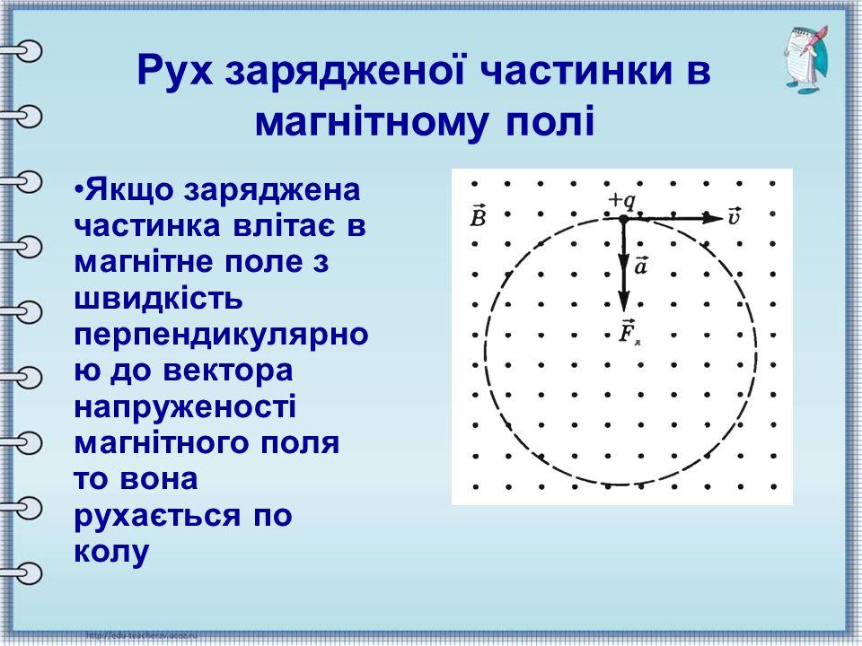 Якщо заряджена частинка влітає в магнітне поле з швидкість перпендикулярно ю до вектора напруженості магнітного поля то вона рухається по колу Рух зар