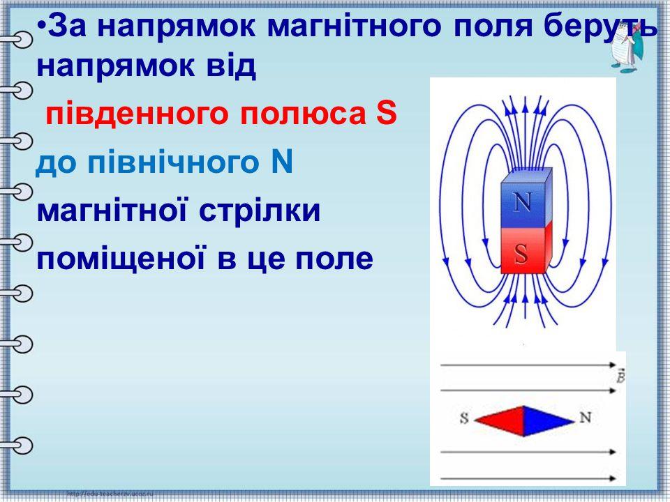За напрямок магнітного поля беруть напрямок від південного полюса S до північного N магнітної стрілки поміщеної в це поле