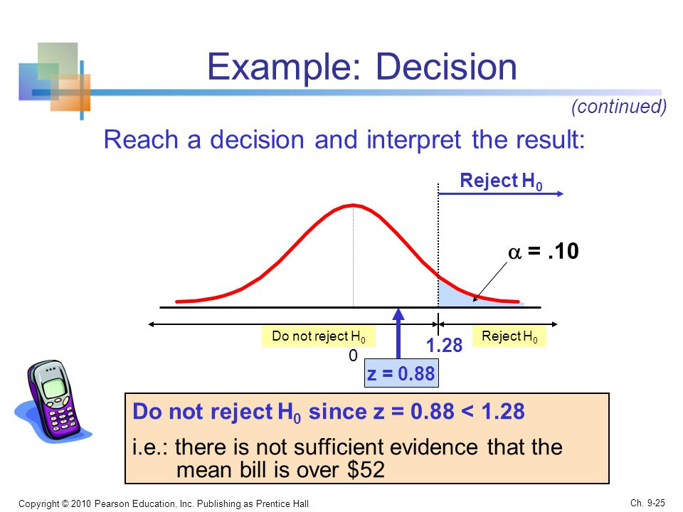 Example: Decision Reach a decision and interpret the result: Copyright © 2010 Pearson Education, Inc.