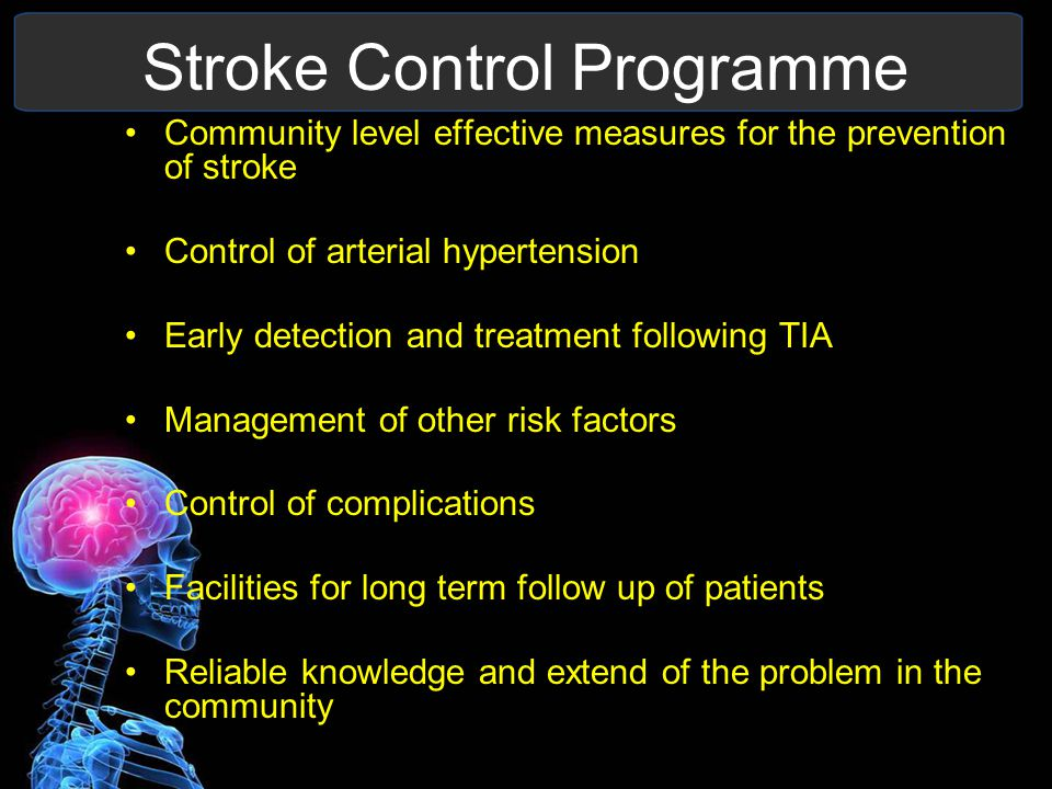 Stroke Control Programme Community level effective measures for the prevention of stroke Control of arterial hypertension Early detection and treatment following TIA Management of other risk factors Control of complications Facilities for long term follow up of patients Reliable knowledge and extend of the problem in the community