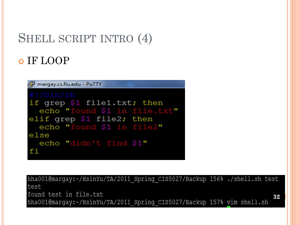S HELL SCRIPT INTRO (4) IF LOOP 32