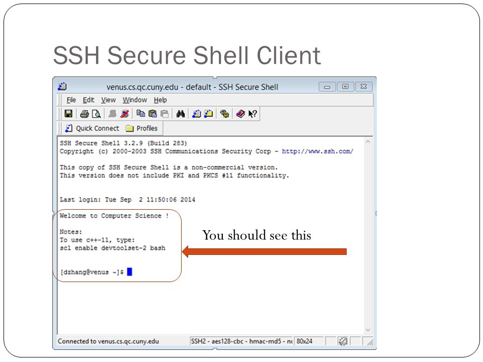 SSH Secure Shell Client You should see this