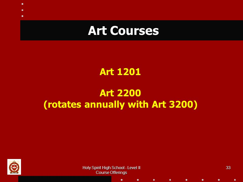33 Art Courses Art 1201 Art 2200 (rotates annually with Art 3200) Holy Spirit High School - Level II Course Offerings