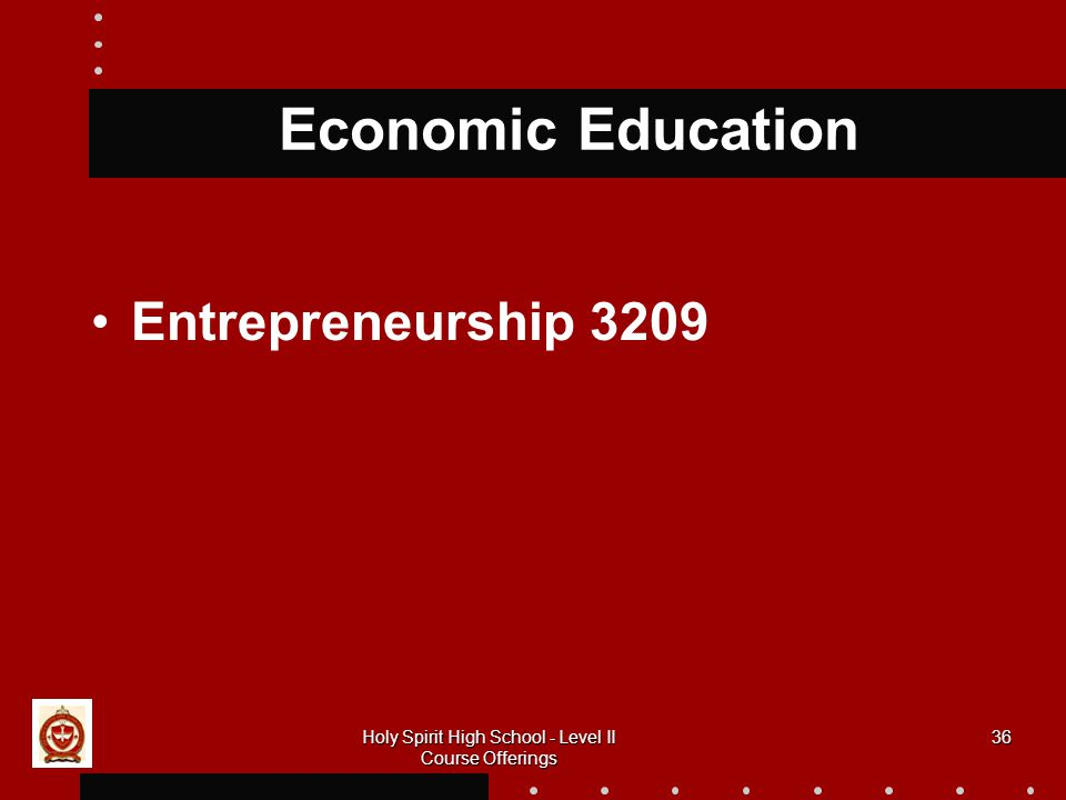 36 Economic Education Entrepreneurship 3209 Holy Spirit High School - Level II Course Offerings