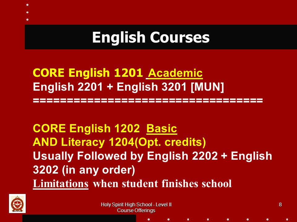 8 English Courses CORE English 1201 Academic English English 3201 [MUN] ================================== CORE English 1202 Basic AND Literacy 1204(Opt.