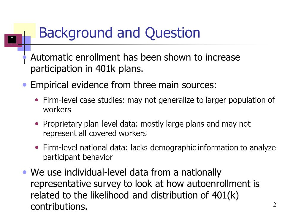 Background and Question Automatic enrollment has been shown to increase participation in 401k plans.