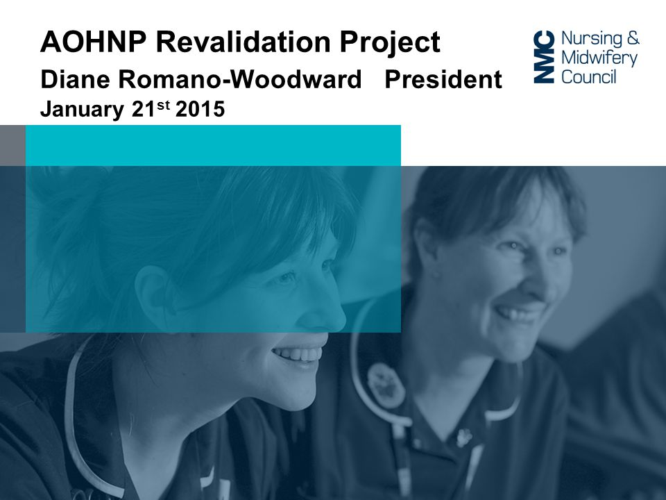 AOHNP Revalidation Project Diane Romano-Woodward President January 21 st 2015